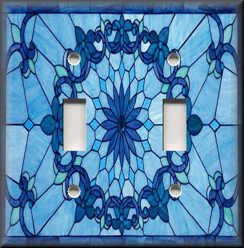 Light Switch Plate Cover Art Nouveau Stained Glass Pattern Blue Home Decor Ebay