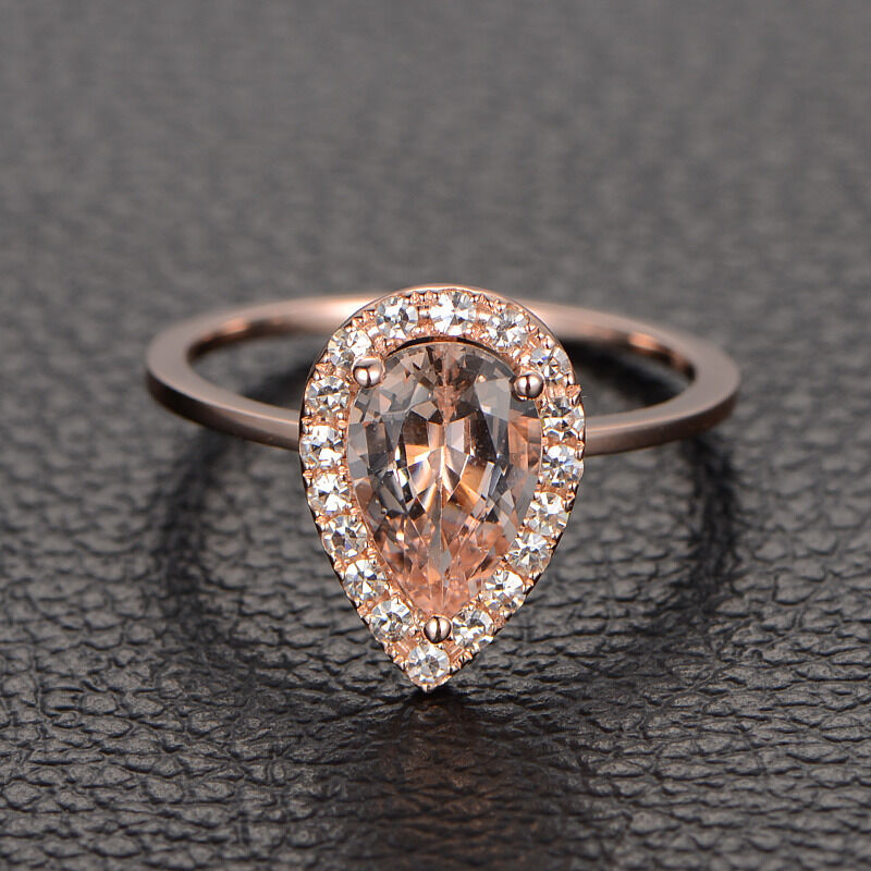 VVS2 Pear Cut Morganite Engagement Ring with Halo Moissanite 14K Rose Gold