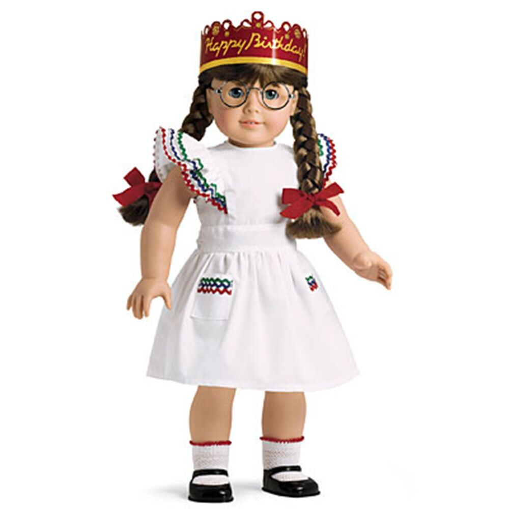 american girl molly 39 s birthday party dress w crown socks outfit new in box ebay. Black Bedroom Furniture Sets. Home Design Ideas