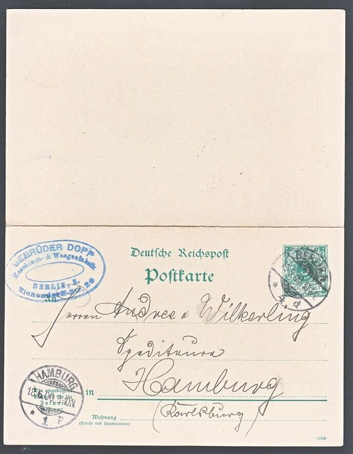 germany 1900 paid reply card mi p38 unservered berlin. Black Bedroom Furniture Sets. Home Design Ideas