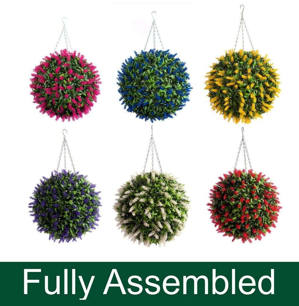 How To Make Flower Baskets For Hanging : Best artificial lavender lush long leaf topiary flower