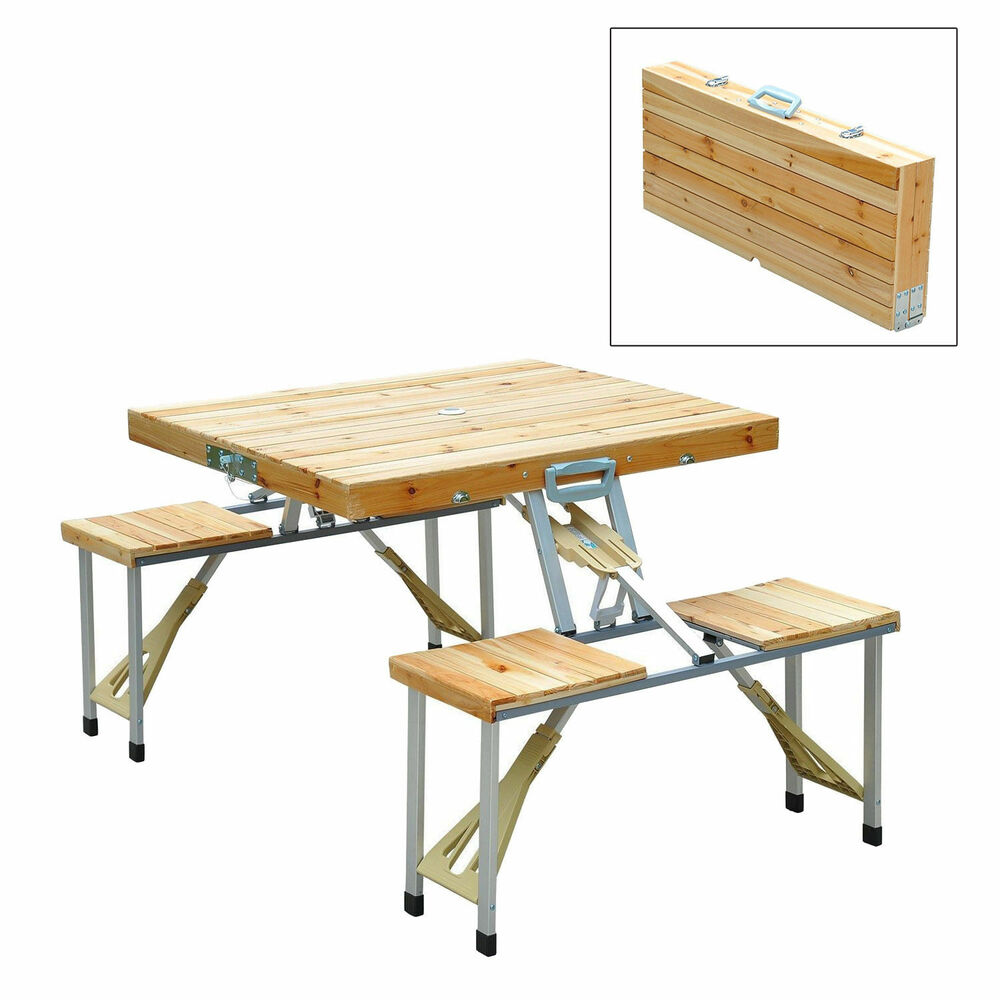 wooden camping picnic table bench seat outdoor portable folding aluminum 4 seats ebay. Black Bedroom Furniture Sets. Home Design Ideas