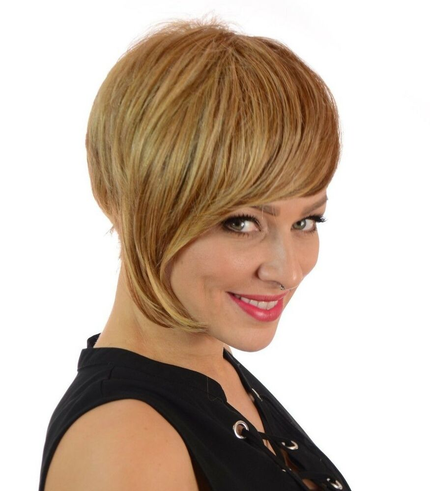 Frankie Natural Short Crop Asymmetric Bob Hairstyle Lace Front Wig