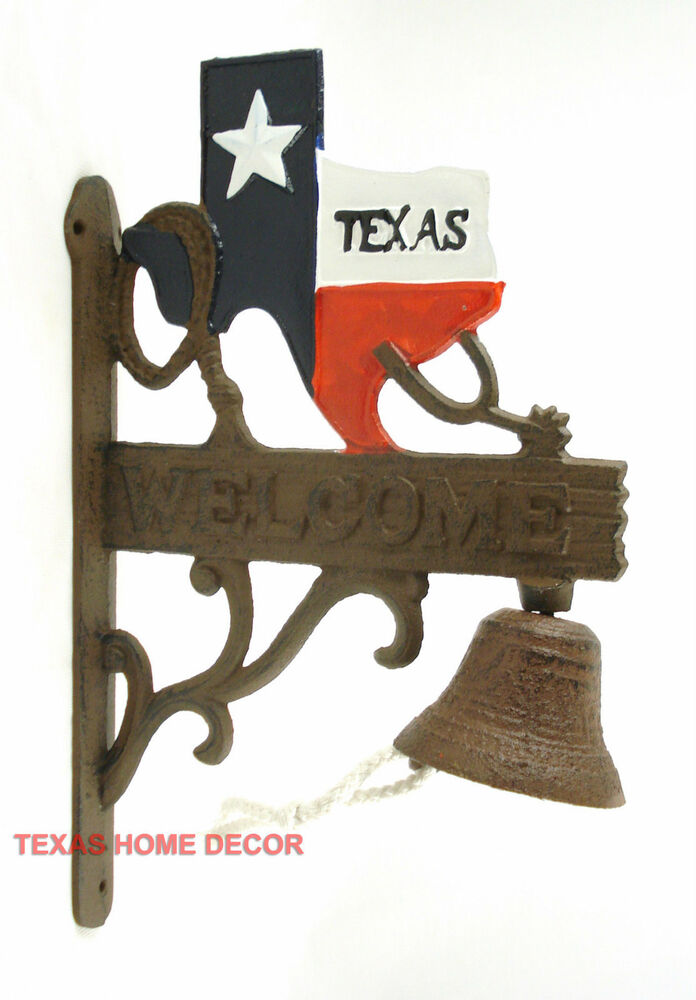rustic home decor texas map dinner bell cast iron welcome western wall decor 11735