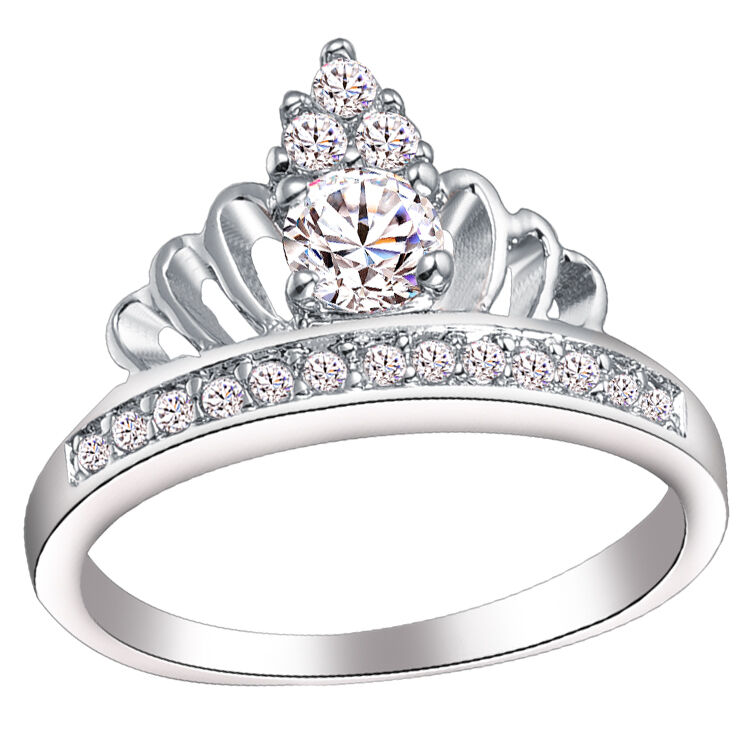 luxury wedding rings top pretty new arrive sterling silver crown austrian 5628