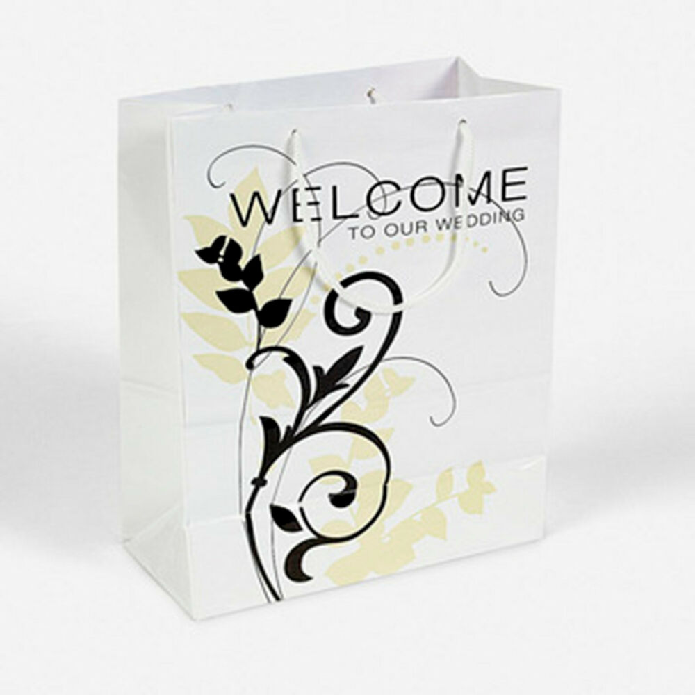 Wedding Gift Bag Welcome Message : ... Ivory Scroll Flourish Thank you Gift Bags Welcome Wedding Party eBay