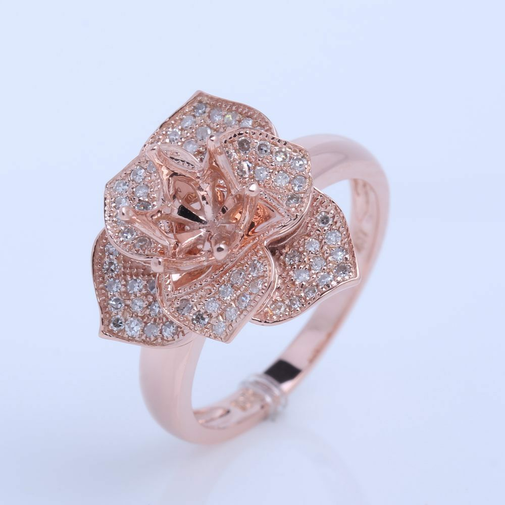 solid 14k rose gold semi mount setting engagement diamond. Black Bedroom Furniture Sets. Home Design Ideas