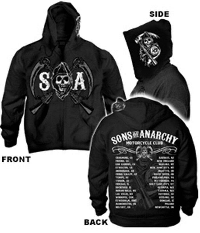 sons of anarchy mc chapters zip up hooded sweatshirt. Black Bedroom Furniture Sets. Home Design Ideas