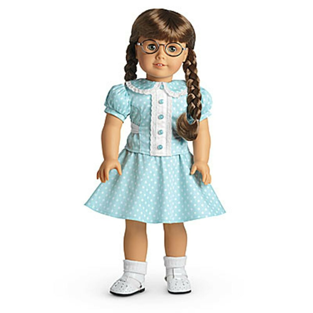 american girl molly 39 s polka dot dress outfit complete nrfb new in box ebay. Black Bedroom Furniture Sets. Home Design Ideas