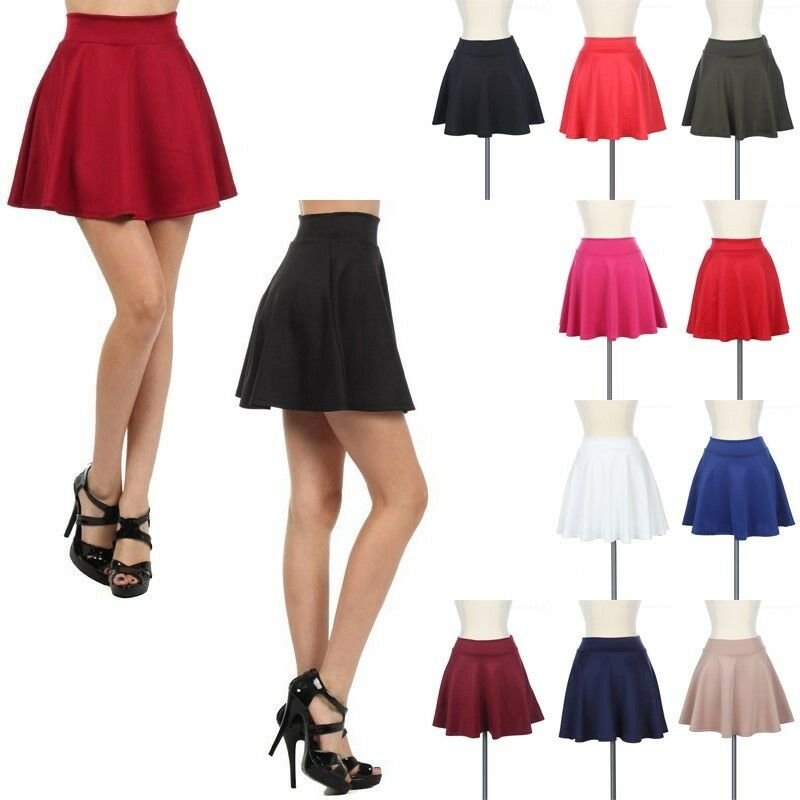 High Waist Skater Mini Skirt Jersey Plain Flared Pleated A