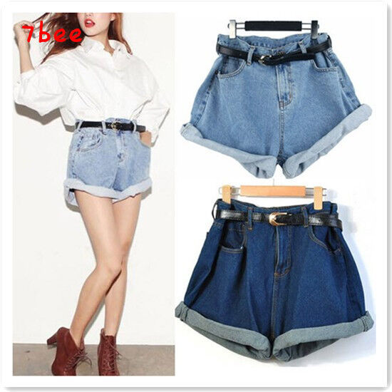 Korean Fashion Women High Waisted Oversize Boyfriend Casual Jeans Shorts Pants Ebay