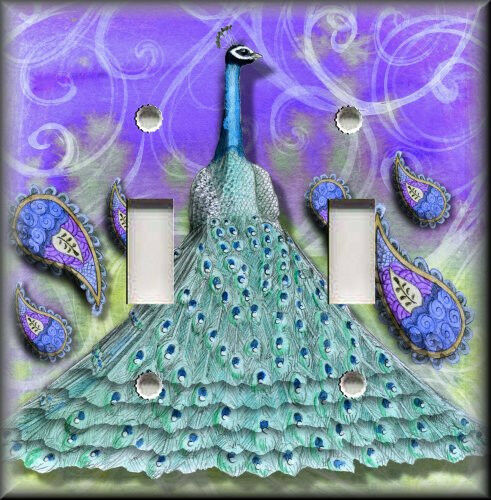 Light Switch Plate Cover Peacock And Paisley Purple Teal Home Decor Ebay