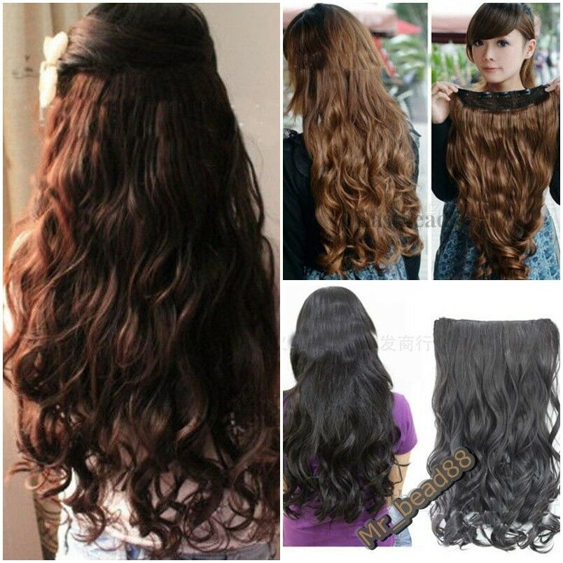 New Fashion One Piece Clip In Curly Wavy Women Synthetic Hair Extension 3 Colors Ebay