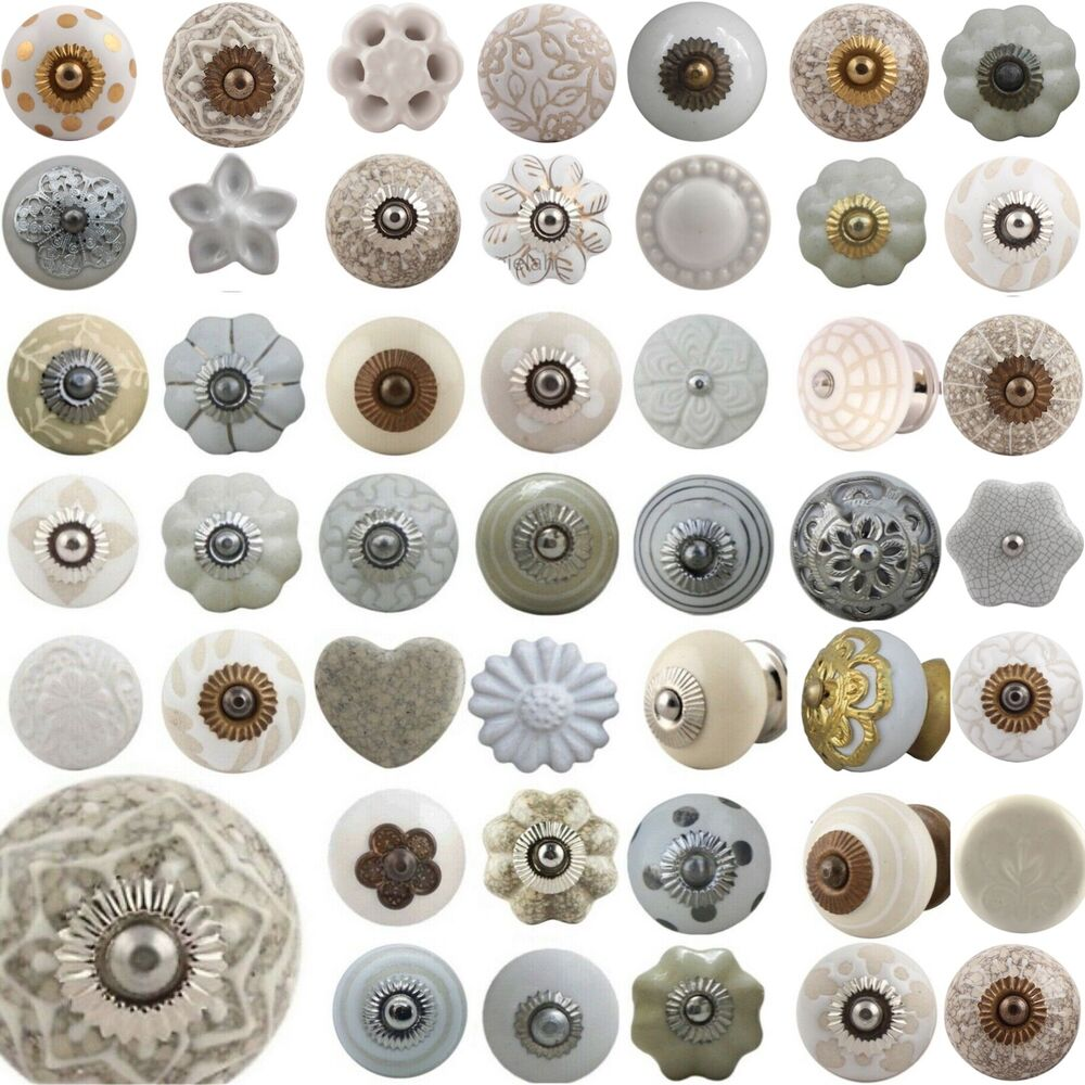 White Door Knobs Ceramic Shabby Chic Handles Cupboard