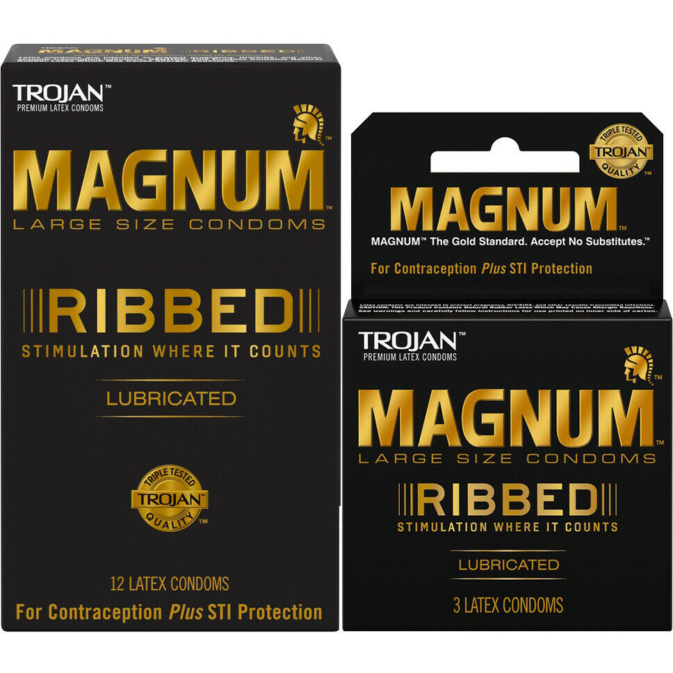 trojan magnum ribbed large condoms choose quantity ebay