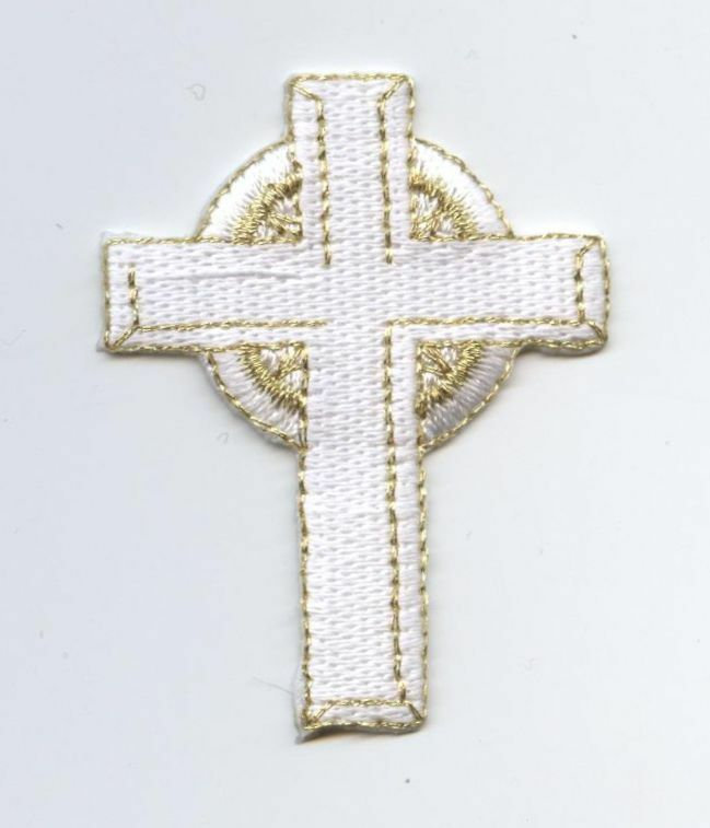 Iron On Embroidered Applique Patch Religious White And Gold Celtic Cross | EBay