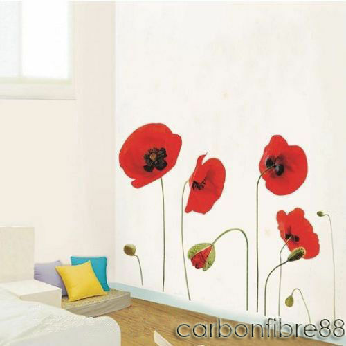 Large red poppy flower wall stickers art decal wallpaper for Ebay decorations home