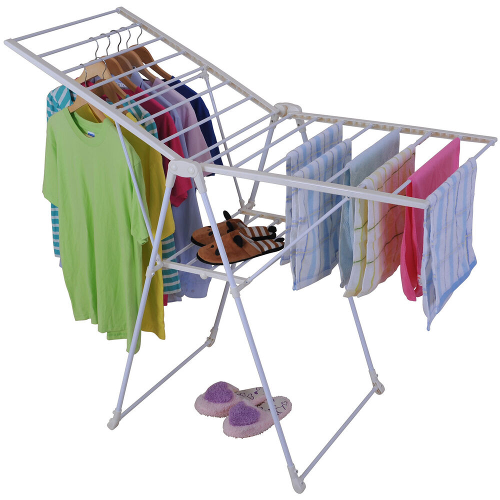folding clothes drying rack tube hanging laundry shelf w tray promotion price ebay. Black Bedroom Furniture Sets. Home Design Ideas