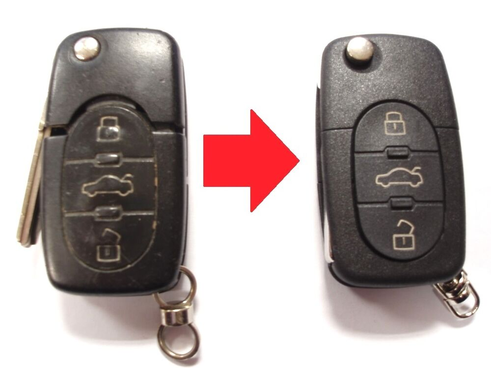 repair service for audi a2 a3 a4 a6 a8 tt remote flip key new case ebay. Black Bedroom Furniture Sets. Home Design Ideas