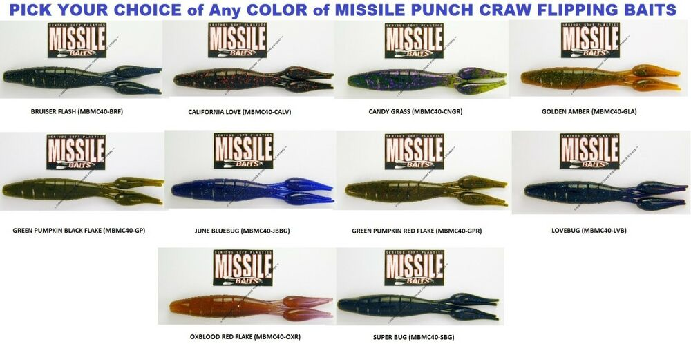 Missile Baits Craw Dock Skipping Mat Punching Any 6 Colors MBMC40 Fishing Lures