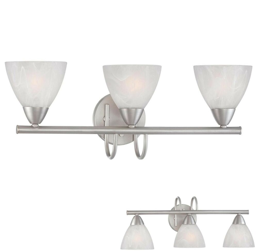 Brushed nickel 3 light bathroom vanity wall lighting bath for Brushed nickel bathroom lighting fixtures