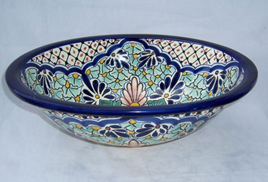 15-(S) Mexican Talavera sink painted both sides eBay