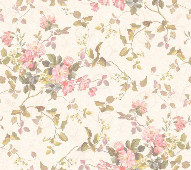 Wallpaper Floral Branch Bouquet Rose Pink Peach Flowers