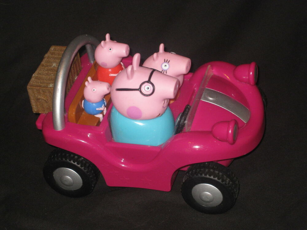 Drivable Toy Cars >> PEPPA PIG PUSH & GO TALKING MUSICAL PINK CAR TOY. PURPLE BEACH BUGGY FIGURES | eBay