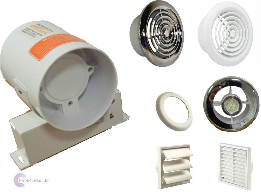 Inline Bathroom Extractor Fan Light Kit No Light 100m3 H Condensation Shower Ebay