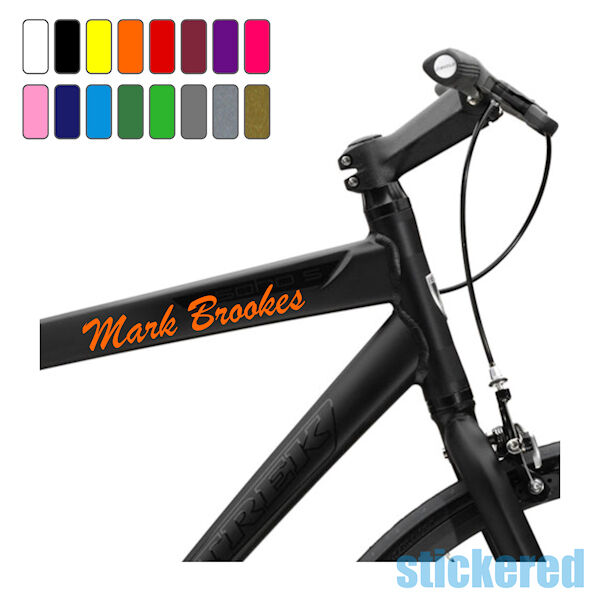 3 X Personalised Bike Bicycle Frame Name Stickers For