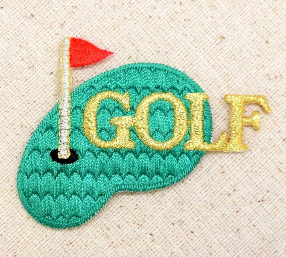 Iron On Applique Embroidered Patch Metallic Gold Golf Green With Red Flag | EBay