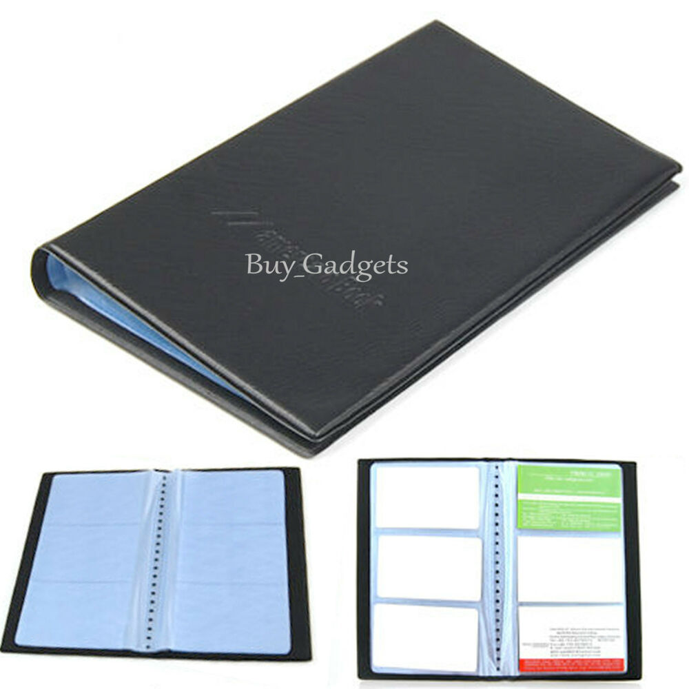 BLACK PU LEATHER 120 BUSINESS NAME CARD HOLDER BOOK WALLET