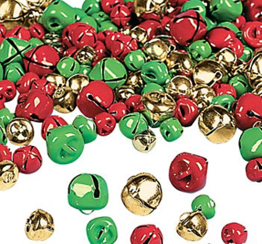 200 Christmas Jingle Bells Gold Red Green Charms Jewelry