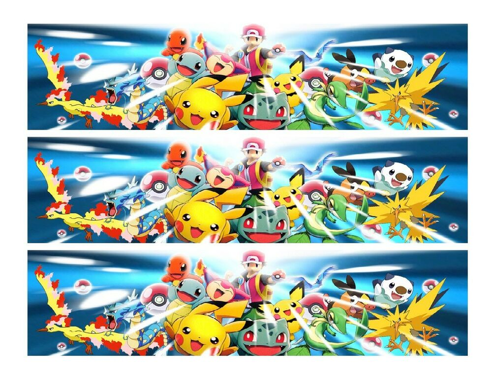 Edible Cake Decorations Pokemon : Pokemon edible cake strips cake topper decorations eBay