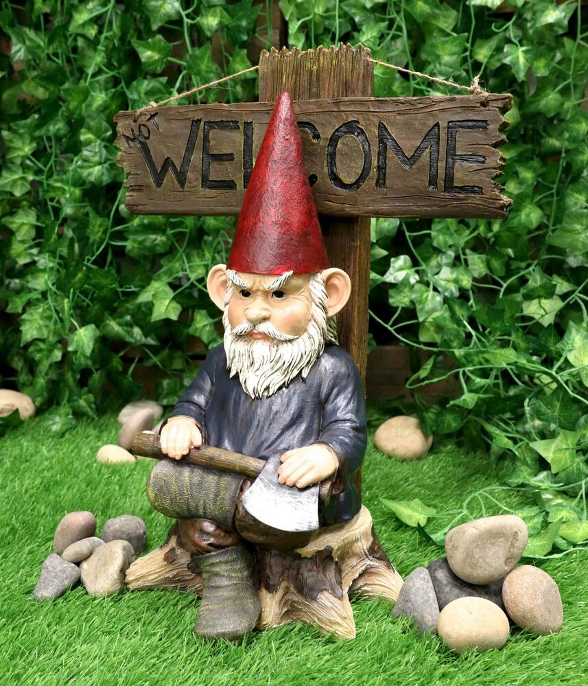 Gnome In Garden: Grinchy Rude Angry Gnome With Axe Welcome Statue Home