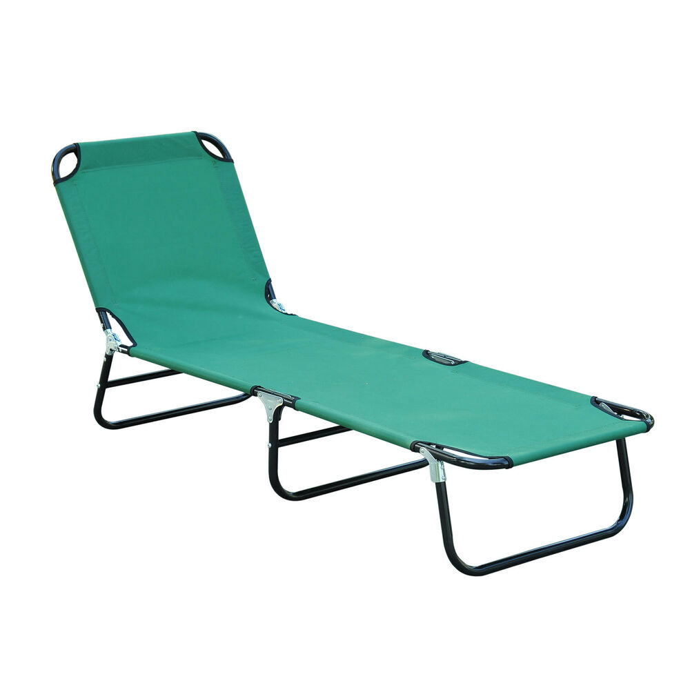 Folding Chaise Lounge Beach Lounge Chair Portable Outdoor Garden Pool Green
