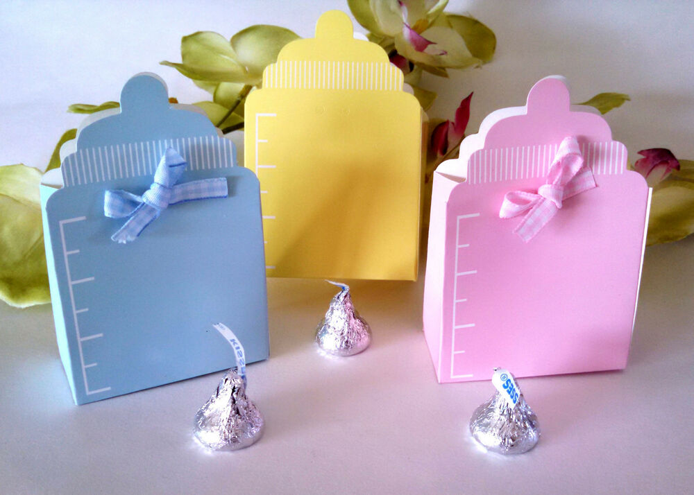 10 Baby Shower Candy Favor Boxes Yellow Blue Pink Bottle Boy Girl Party  Supplies | EBay