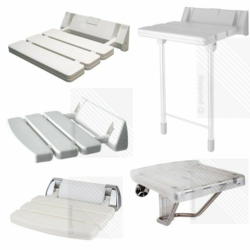 Wall Mounted Bathroom Fold Down Shower Seat White Chrome Holds Upto