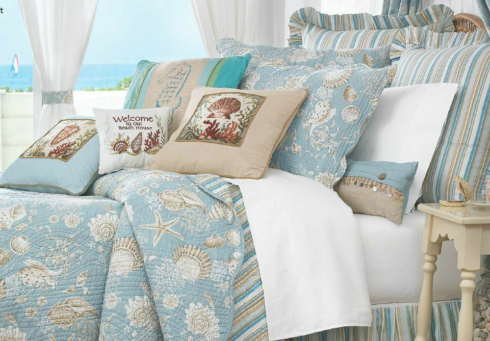 Natural Shells Full Queen Quilt Set Aqua Tropical