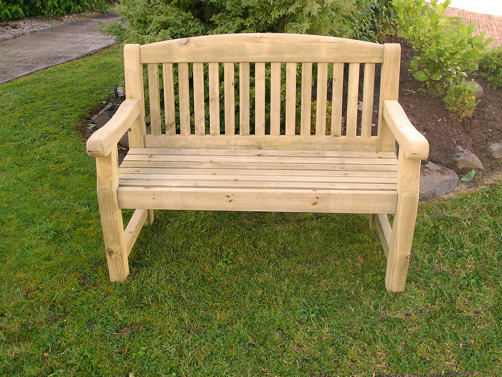 Solid Treated Wood Three Seater 5 39 Garden Park Memorial Bench Dining Set Ebay