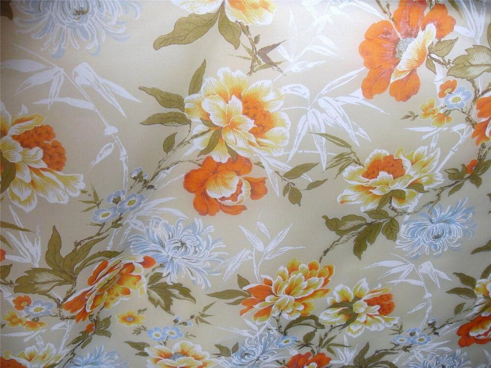 Retro Vintage Floral Print Orange Blue Sheer Drapery