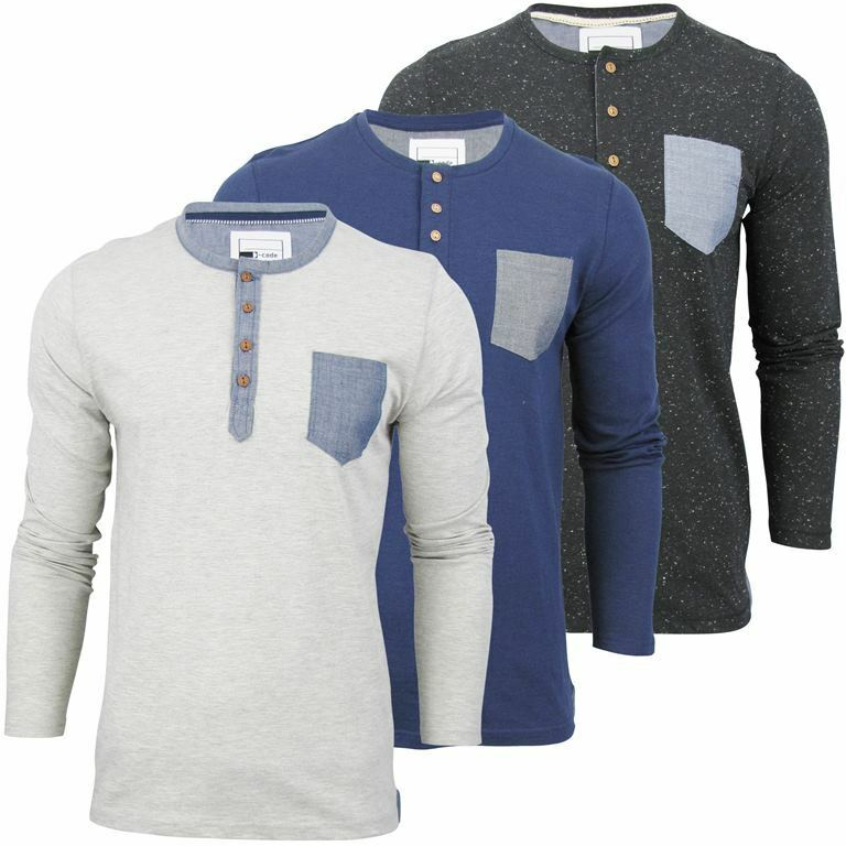 Mens d code long sleeve jersey t shirt with a granddad for Long sleeve t shirts with collar