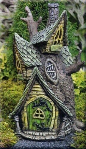 Tree house for miniature fairy garden gnome light up by for How to make illuminated tree stumps