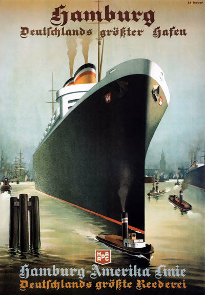 tx197 vintage hamburg america line liner shipping travel poster reprint a2 a3 a4 ebay. Black Bedroom Furniture Sets. Home Design Ideas