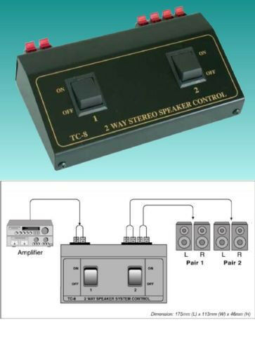 2 way pair speaker selector switch switcher switching box. Black Bedroom Furniture Sets. Home Design Ideas