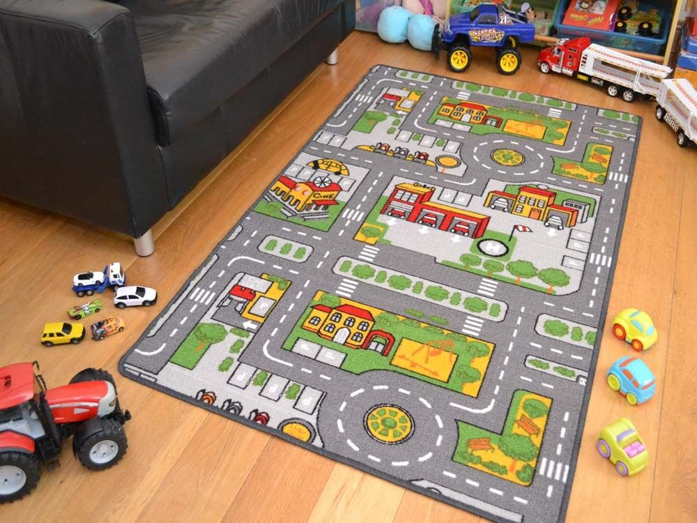 new large size boys girls kids kiddies play road map bedroom rug mat rug playmat ebay. Black Bedroom Furniture Sets. Home Design Ideas