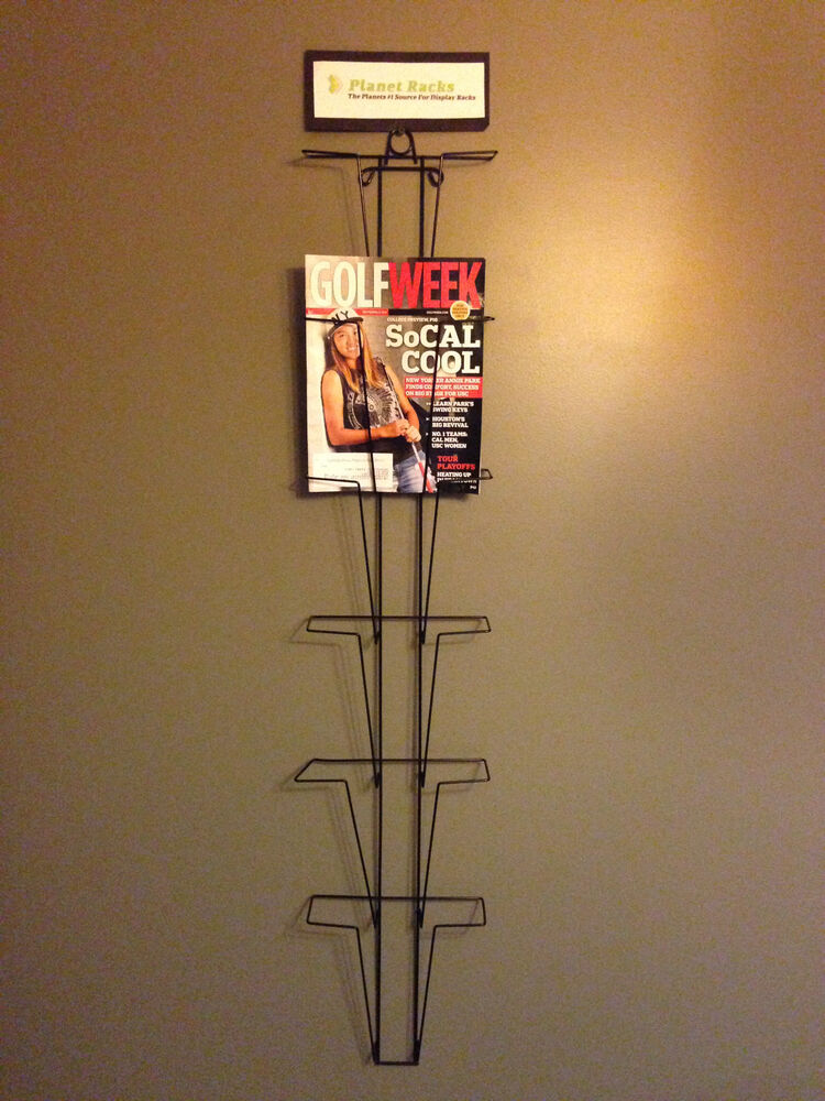 Planet racks 6 pocket hanging magazine wall display for Wall hanging picture display