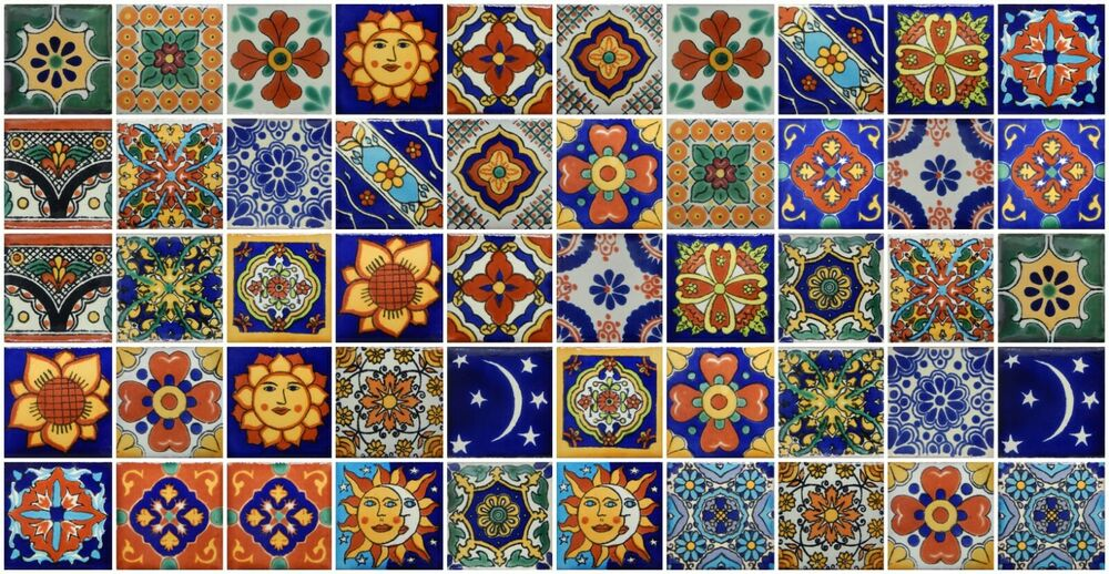 50 Mexican Talavera Tiles 2x2 Clay Handmade Folk Art Mosaic Handpainted Ebay