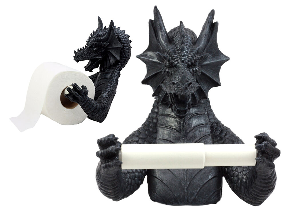 Gothic wingless dragon resin toilet paper holder awesome - Dragon decorations for a home ...