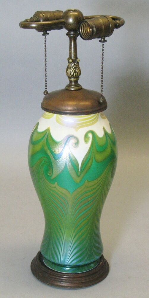 Green Lamp Painting : Extremely rare early green art glass lamp c